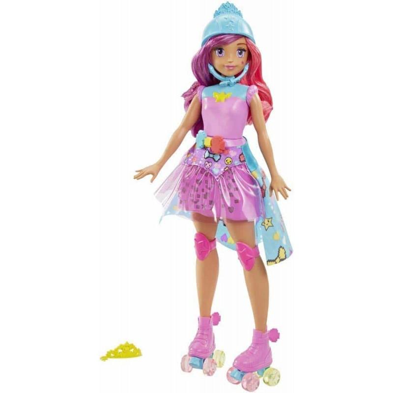 Păpușă Barbie Video Game HERO cu role și fustă luminoasă DTW00