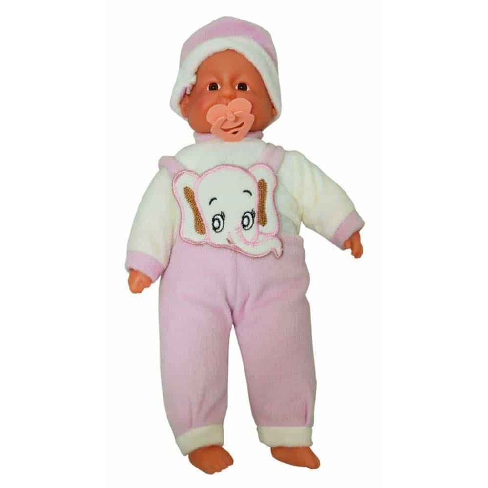 Păpușă bebeluș cu căciulă și costumaș elefant Baby Doll cu suzetă