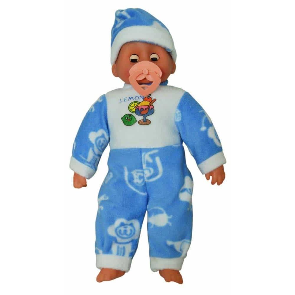 Păpușă bebeluș cu căciulă și costumaș albastru Baby Doll cu suzetă