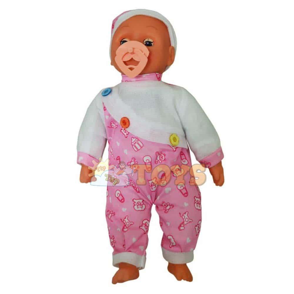 Păpușă bebeluș cu căciulă și costumaș roz Baby Doll cu suzetă