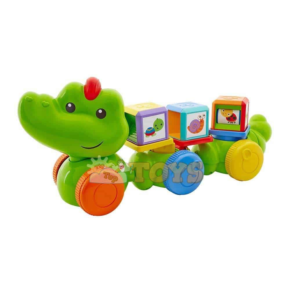 Fisher-Price Crocodil cu cuburi DGT90 Safari Mattel Crocodil amuzant