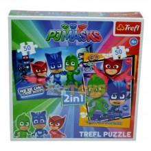 PJ Masks 2 în 1 puzzle și joc de memorie 2x50 piese Trefl 90710T