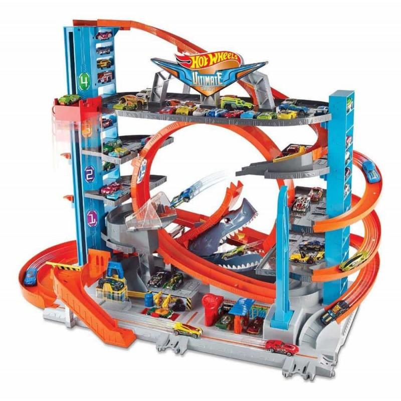 Hot Wheels City Mega garaj cu pistă Mattel FTB69 2 mașinuțe incluse