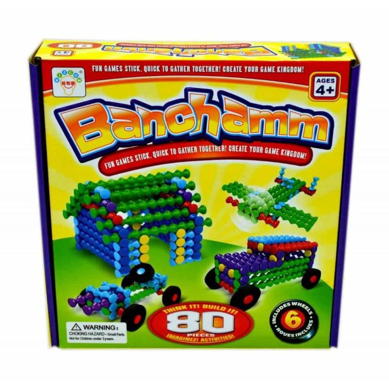 Joc construcții plastic în cutie BANCHAMM 80 piese Diverse multicolor