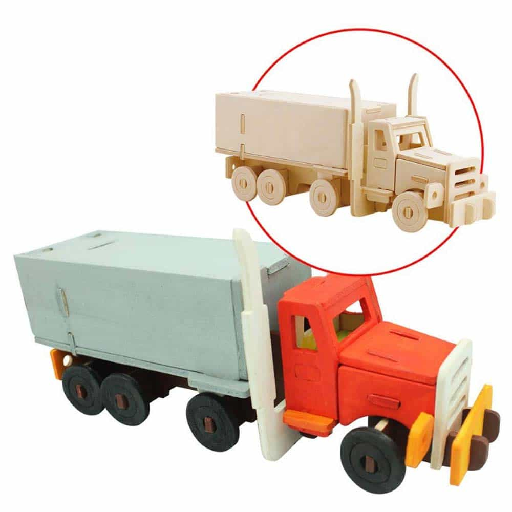 Robotime Puzzle lemn 3D Camion american cu semiremorcă JP245