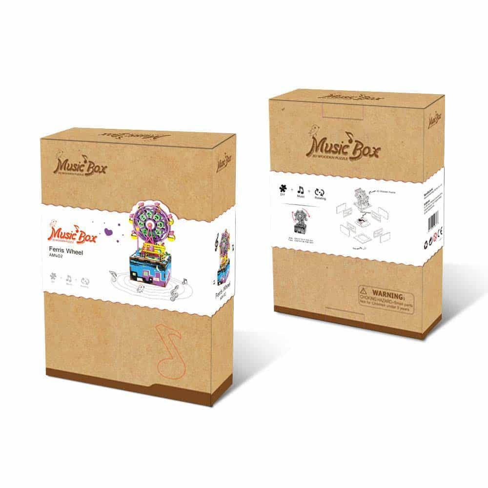Robotime Music Box Puzzle 3D din lemn Carusel cutie muzicală