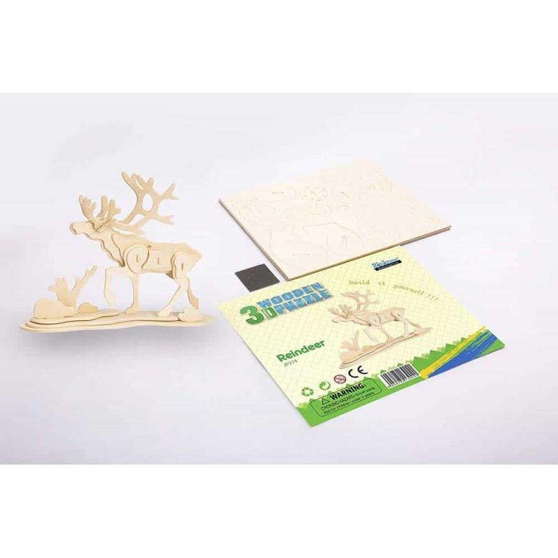rowood Puzzle 3D din lemn Animale sălbatice Cerb Ren - Reindeer
