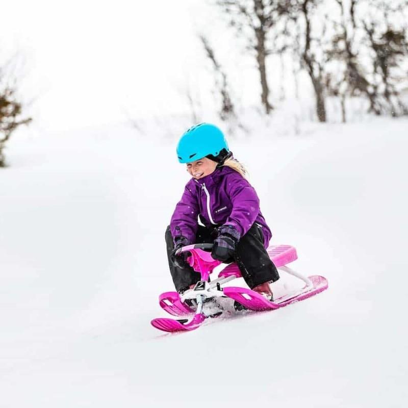 Sanie sportivă cu volan STIGA SnowRacer Color PRO pink - alb