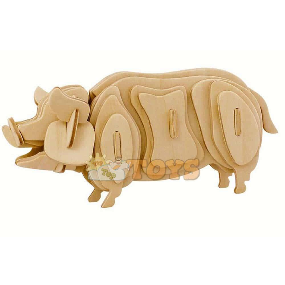 Robotime Puzzle 3D din lemn Animale domestice Porc 38 piese JP231 Pig