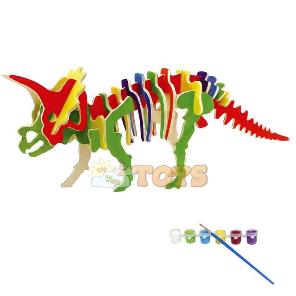 rowood Puzzle 3D din lemn Dinozaur Triceratops 33 piese JP230 31cm