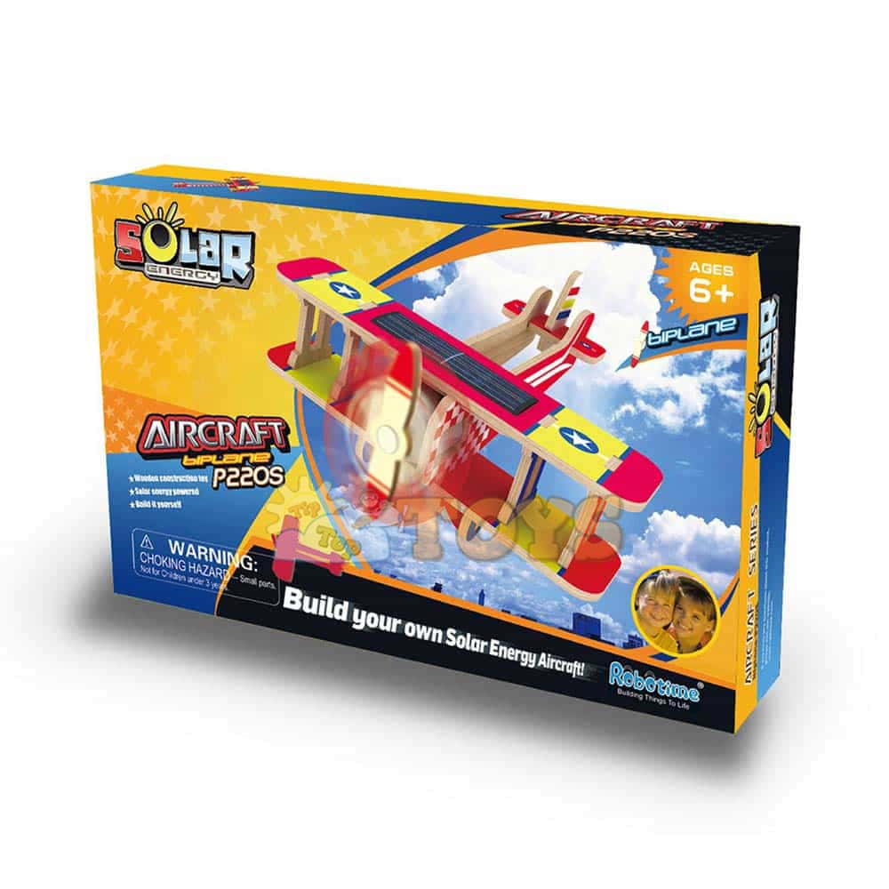 Robotime Puzzle 3D din lemn Avion cu sistem solar P220S Aircraft Biplane
