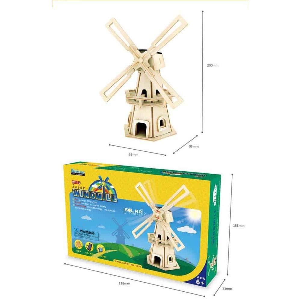 Robotime Puzzle 3D din lemn Moară de vânt W110 cu sistem solar Windmill