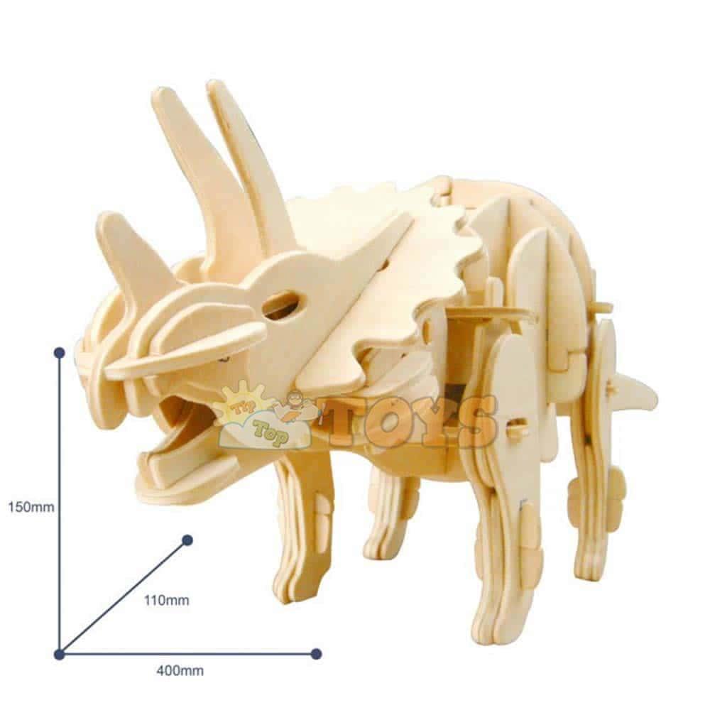 Robotime Puzzle 3D din lemn Triceratops interactiv D430 82 piese