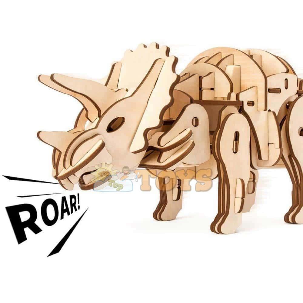 Robotime Puzzle 3D din lemn Dinozaur Triceratops D400 cu telecomandă