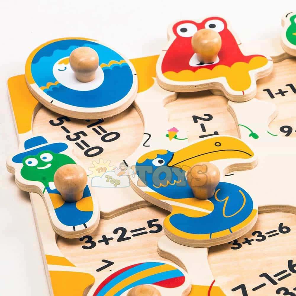Robotime Puzzle lemn încastru Numere HP002 10 piese Peg puzzle color