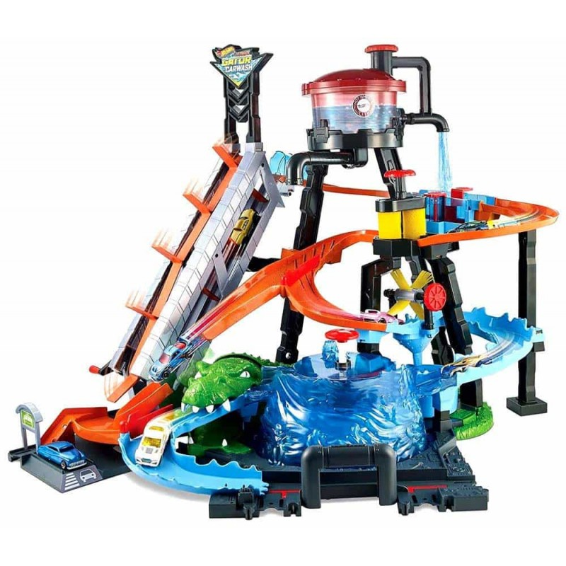 Hot Wheels Spălătorie auto cu crocodil Ultimate Gator Car Wash FTB67