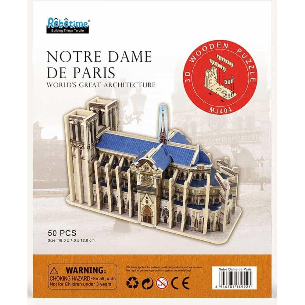 Puzzle 3D din lemn Notre Dame de Paris MJ404 50 piese Robotime