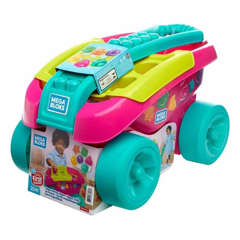 Mega Bloks Cărucior sortator de forme pentru fetițe 25 piese FVJ48 roz