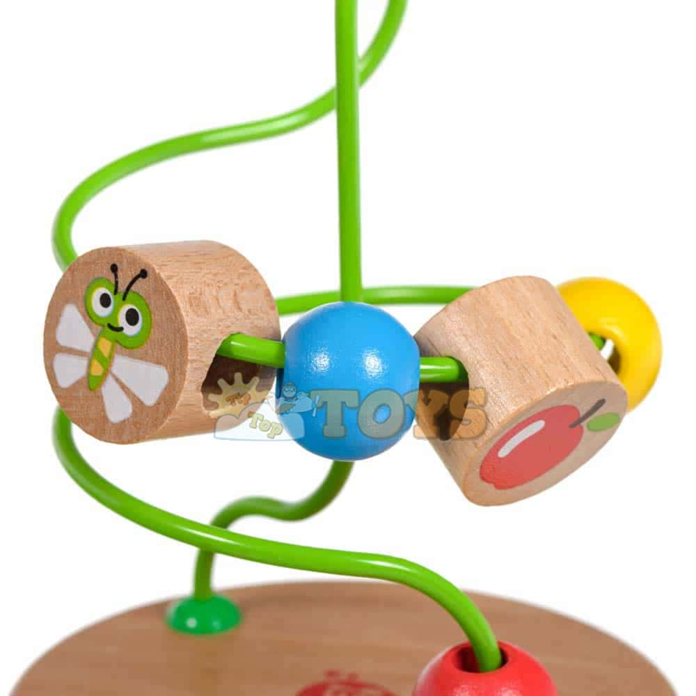 Circuit cu bile fructe și insecte din lemn Lucy&Leo LL146 15x10 cm 5 bile
