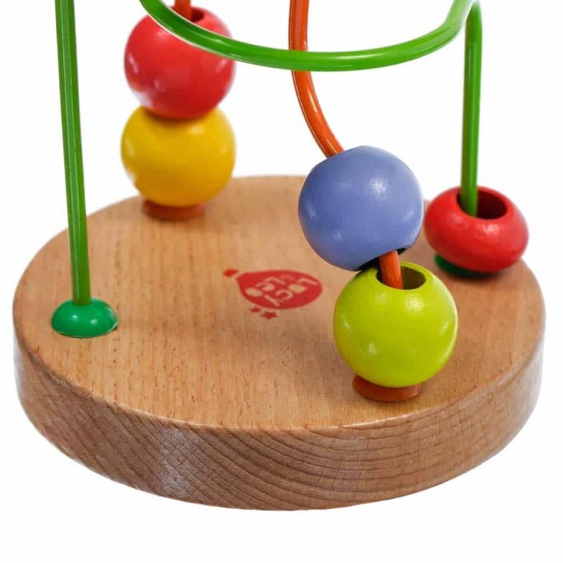 Circuit cu bile din lemn Lucy&Leo LL113 14x9 cm 8 bile multicolore