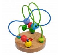 Circuit cu bile din lemn Lucy&Leo LL116 14x10 cm 11 bile multicolore