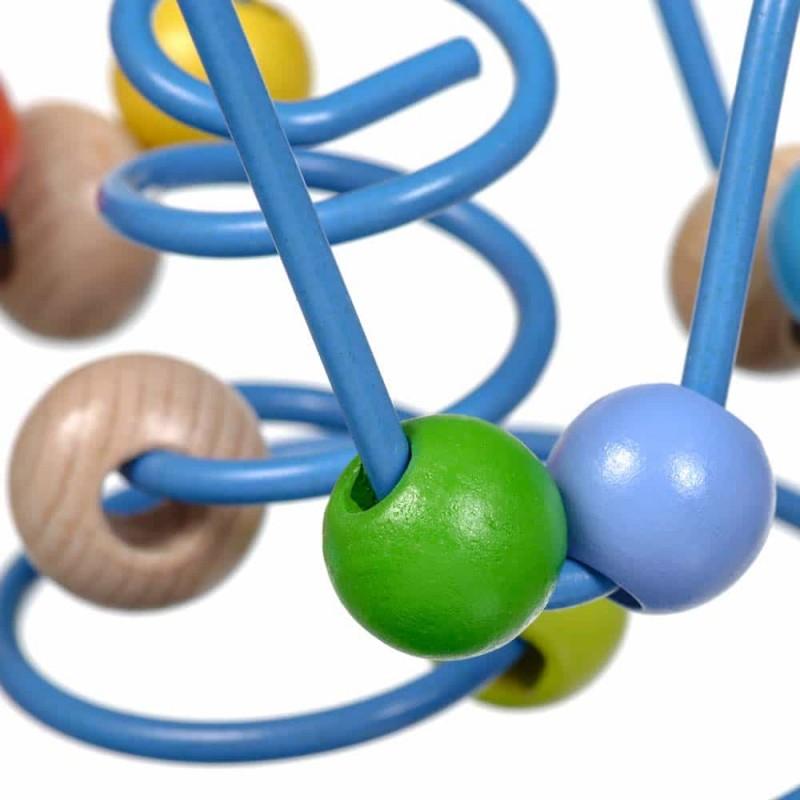 Circuit cu bile din lemn Lucy&Leo LL151 14x12 cm 10 bile multicolore