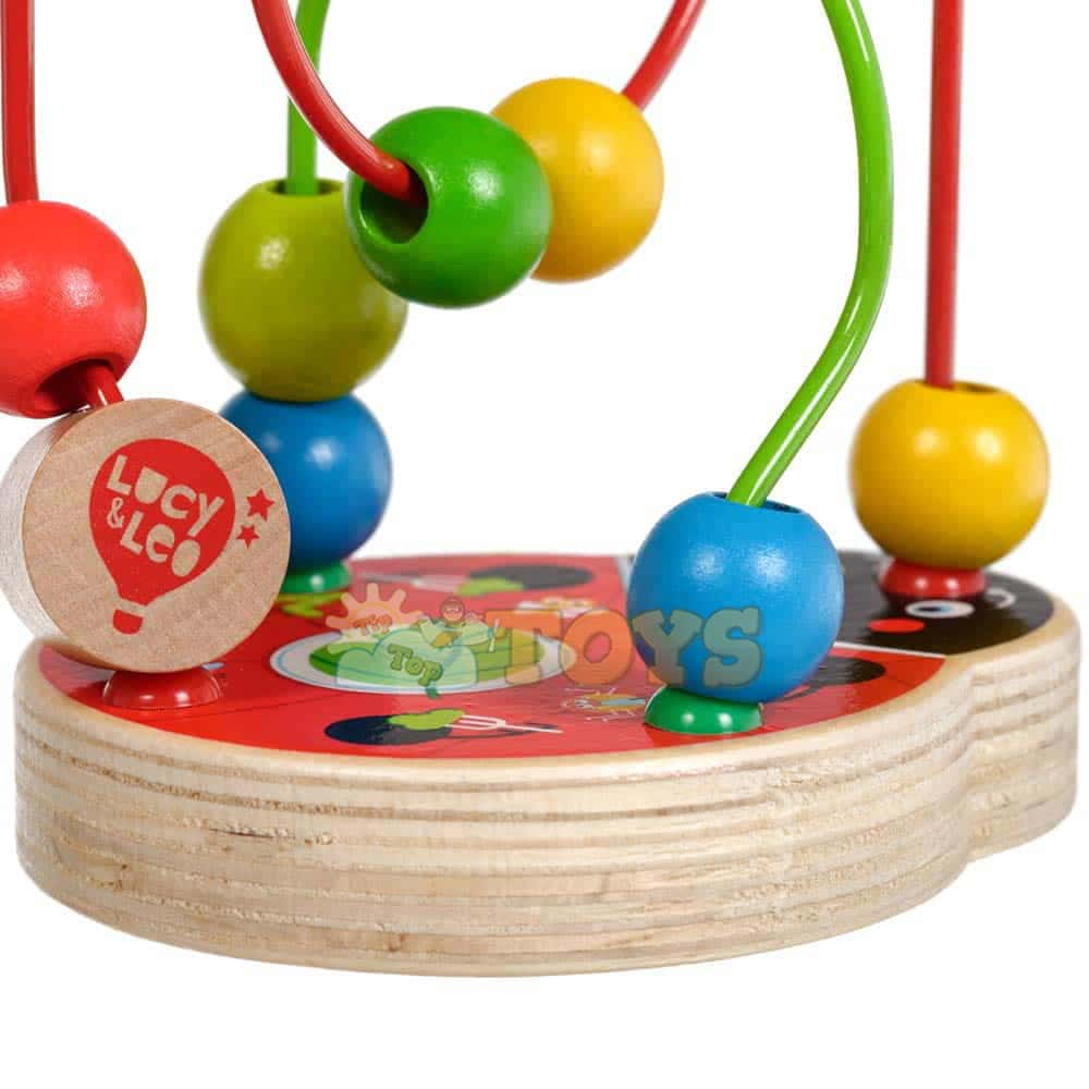 Circuit cu bile din lemn Buburuză Lucy&Leo LL147 cu 8 bile multicolore