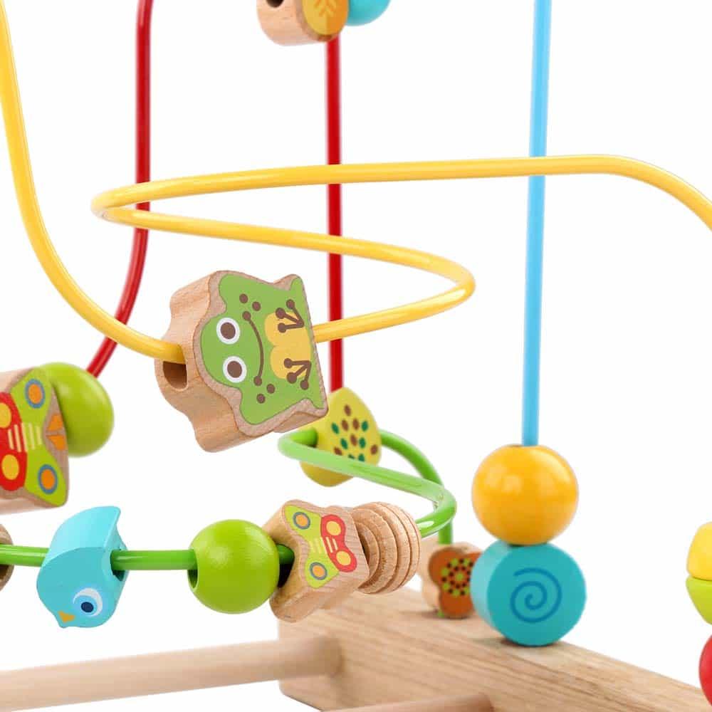 Circuit cu bile din lemn Gigant Lucy&Leo LL203 cu 32 bile multicolore