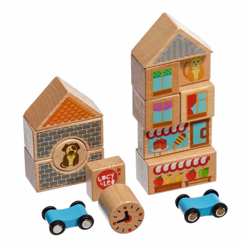 Set de construcție din lemn mic 15 piese Lucy&Leo LL166 cu 2 mașinuțe