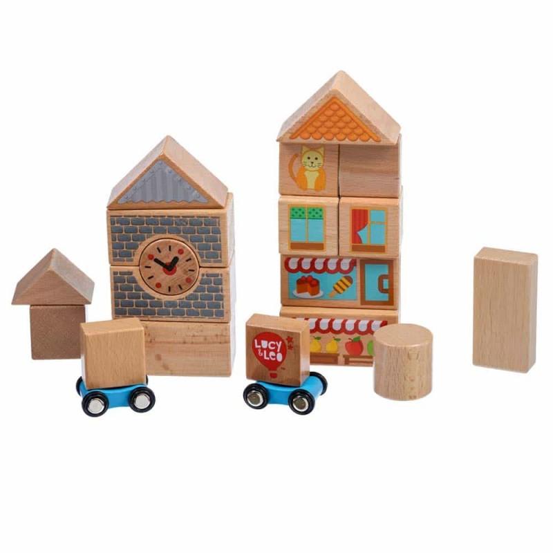 Set de construcție din lemn mediu 25 piese Lucy&Leo LL174 - 2 mașinuțe