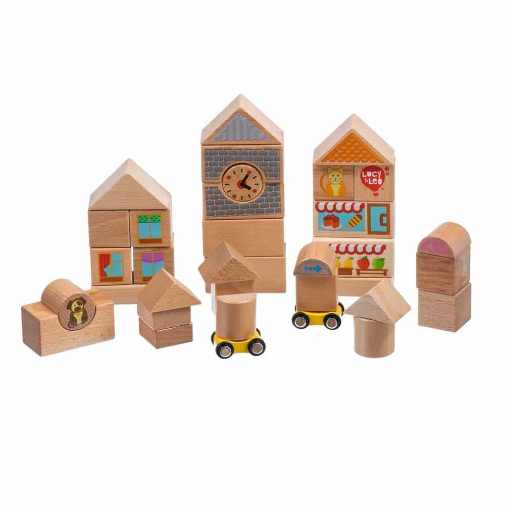 Set de construcție din lemn mare 35 piese Lucy&Leo LL175 - 2 mașinuțe