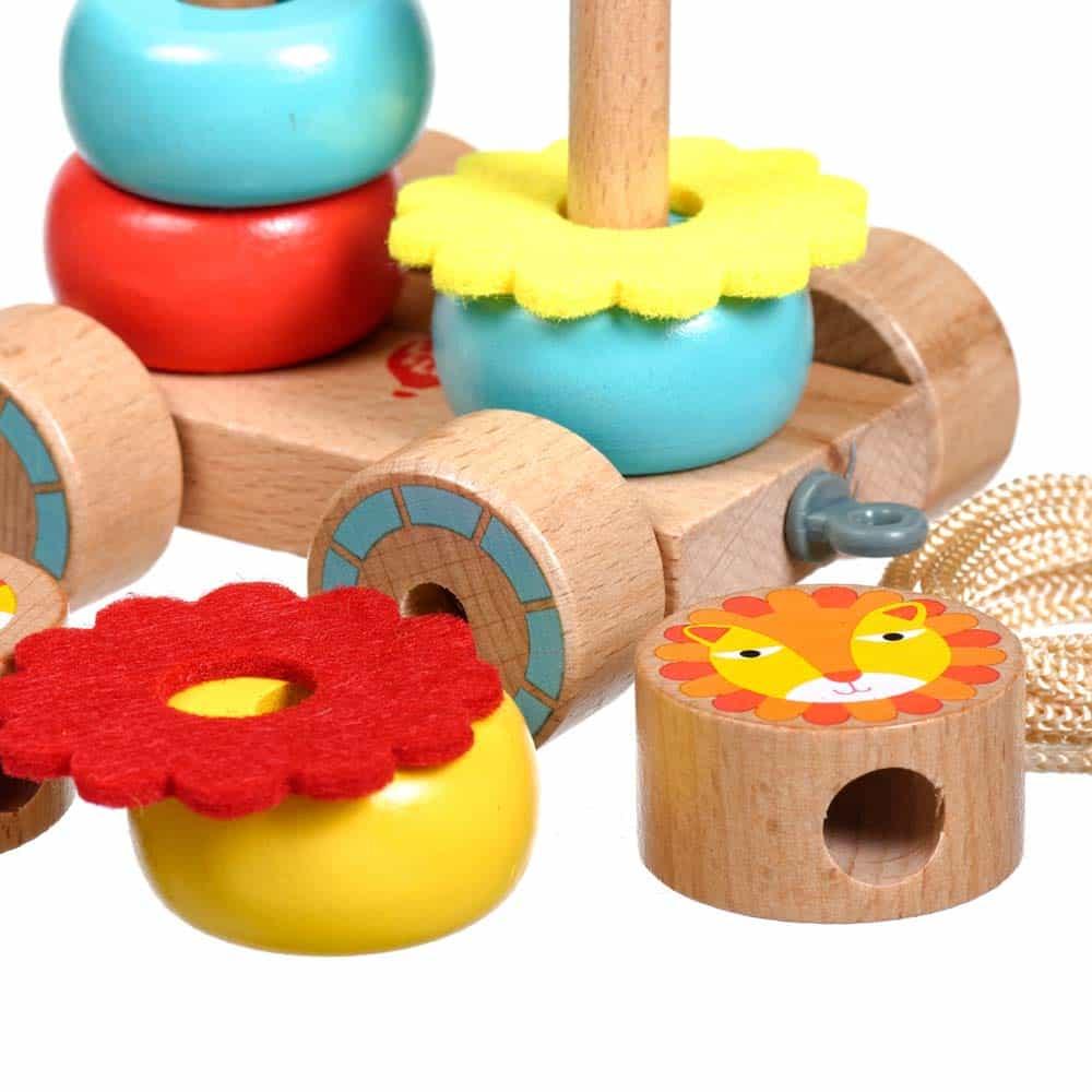 Jucărie de tras din lemn Lei Lucy&Leo LL155 jucărie de sortare și stivuire