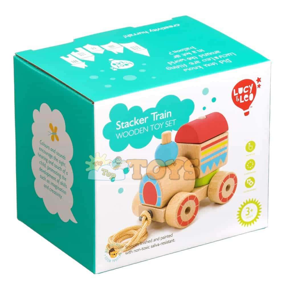 Jucărie de tras din lemn Locomotivă Lucy&Leo LL157 jucărie de stivuire