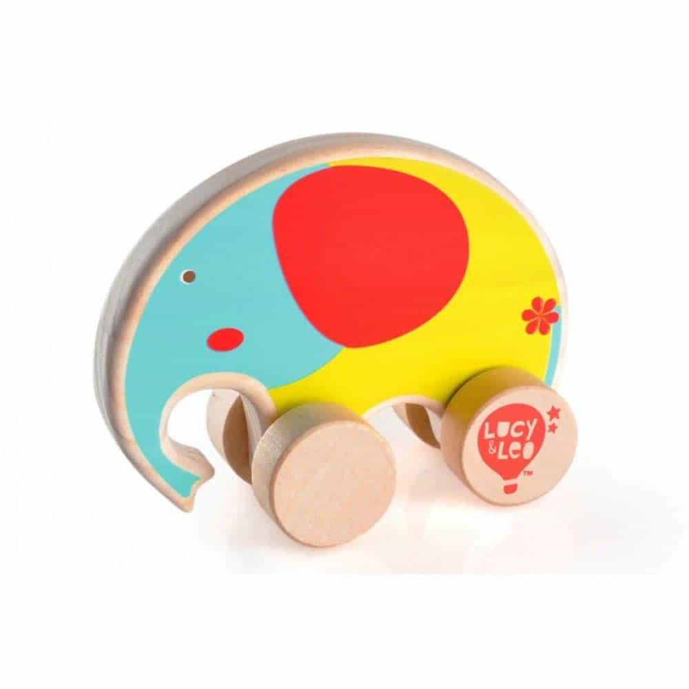 Jucărie de împins din lemn pentru copii Elefant Lucy&Leo LL117 multicolor