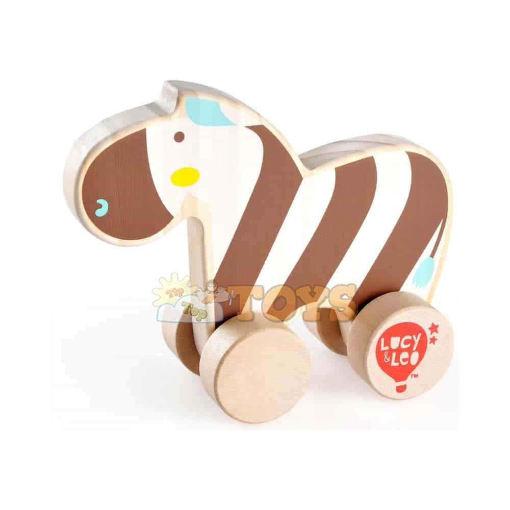 Jucărie de împins din lemn pentru copii Zebră Lucy&Leo LL118 multicolor