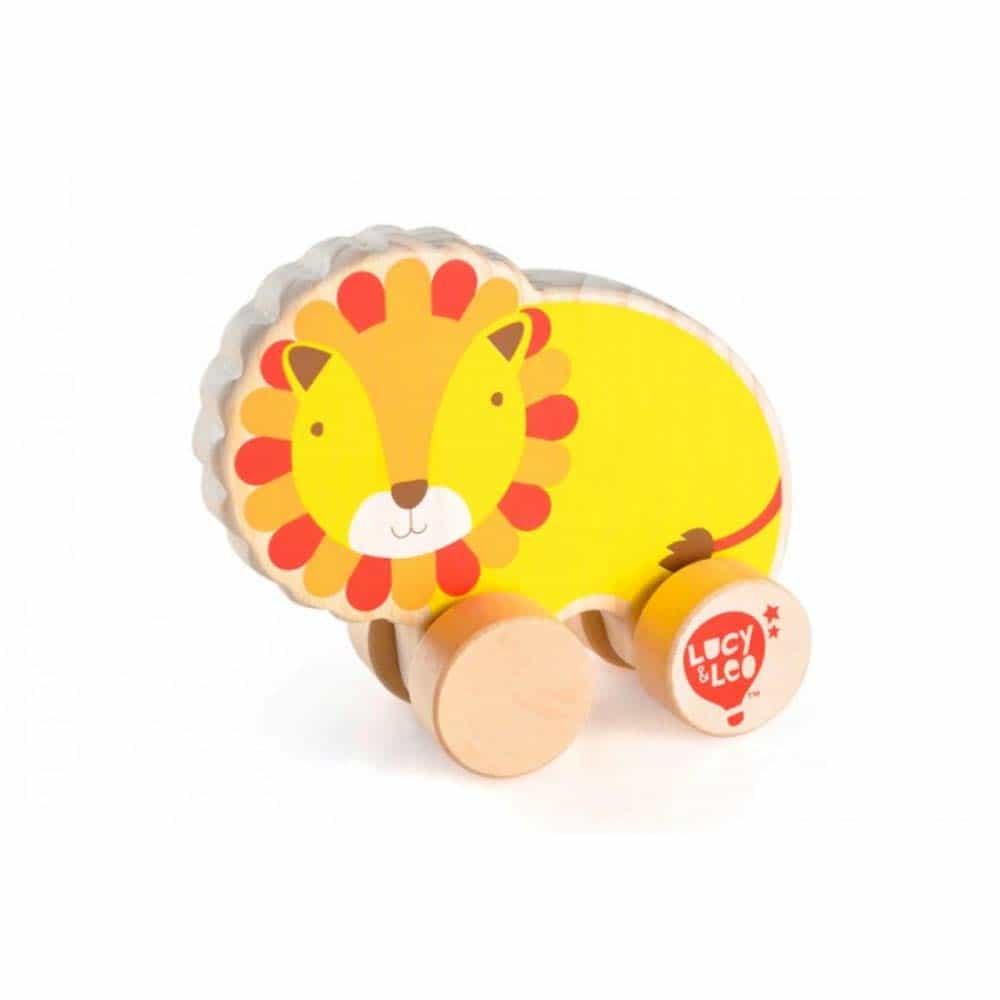 Jucărie de împins din lemn pentru copii Leu Lucy&Leo LL119 multicolor