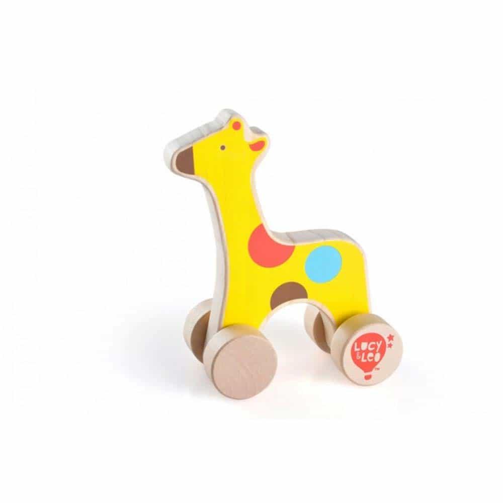 Jucărie de împins din lemn pentru copii Girafă Lucy&Leo LL120 multicolor
