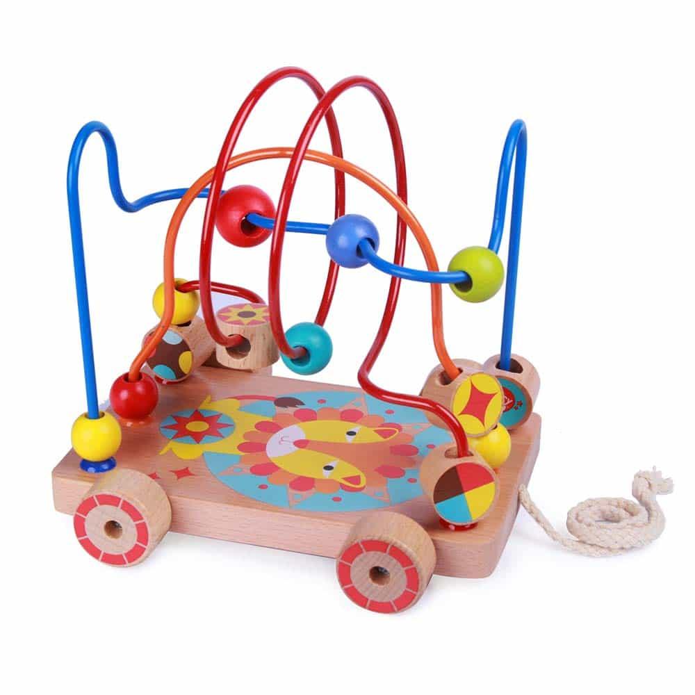 Jucărie de tras din lemn pentru copii Circuit cu bile Leu Lucy&Leo LL160