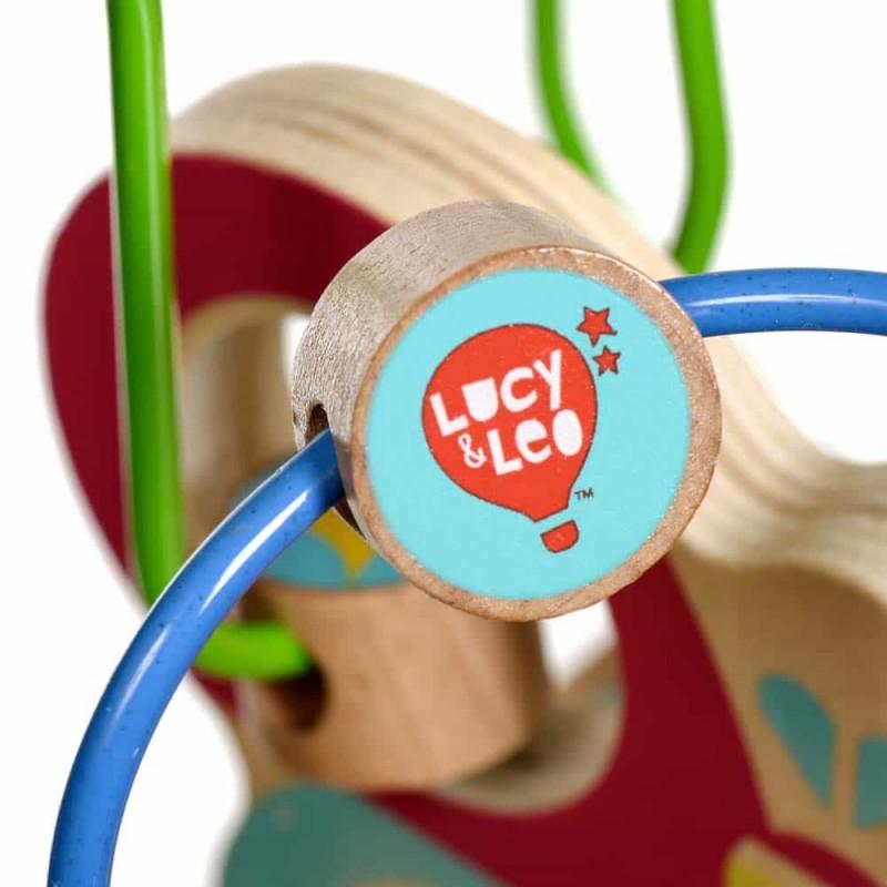 Jucărie de tras din lemn pt copii Circuit cu bile Fluturaș Lucy&Leo LL159