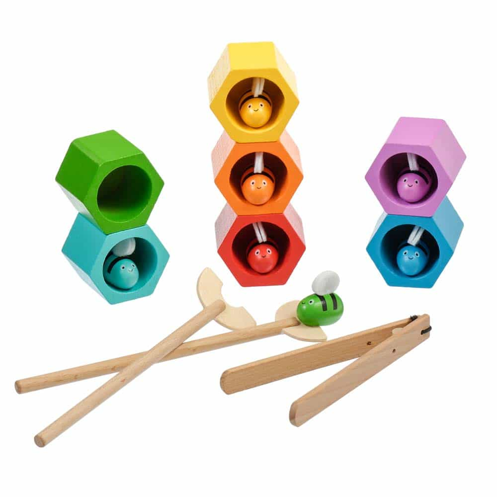 Jucărie dexteritate din lemn Stupul cu albine 17 piese Lucy&Leo LL173