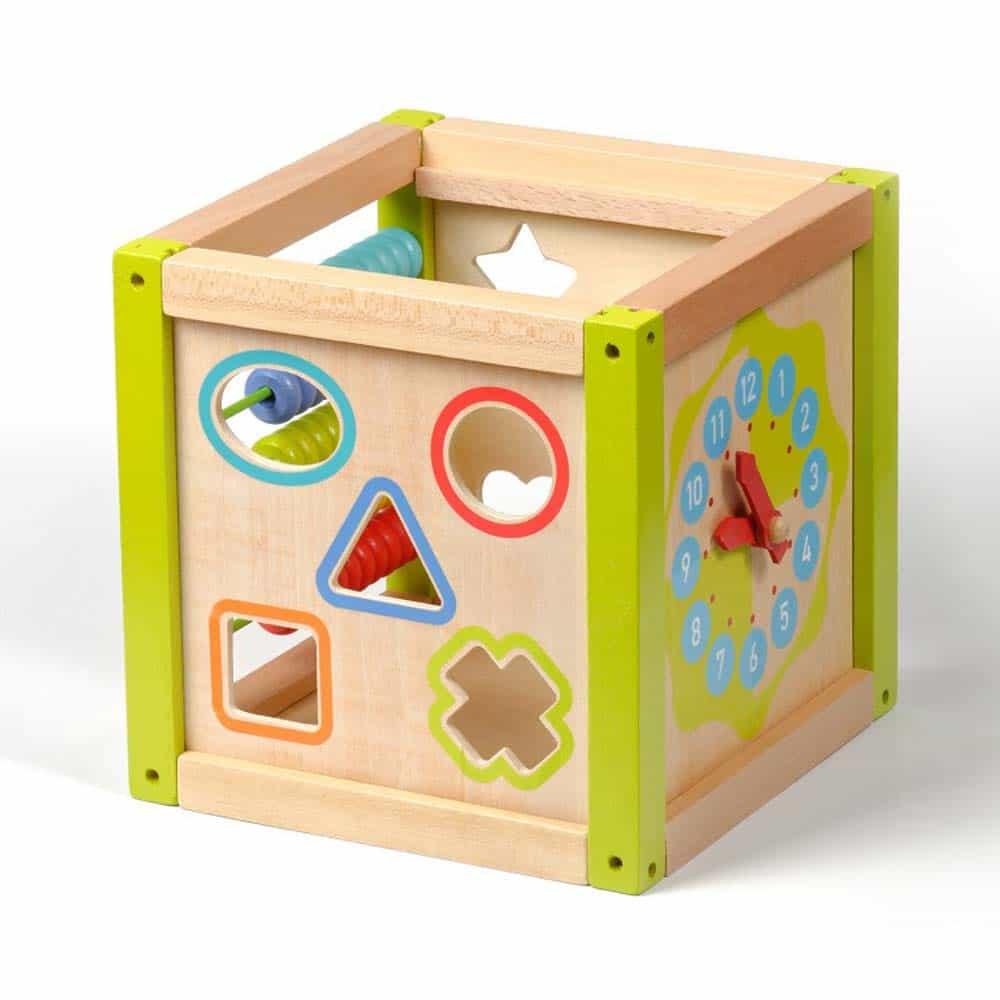 Jucărie din lemn Cub de activități Jucărie Montessori Lucy&Leo LL140