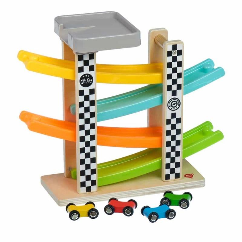 Jucărie din lemn Pistă cu mașinuțe pe rampă Lucy&Leo LL167 4 mașinuțe
