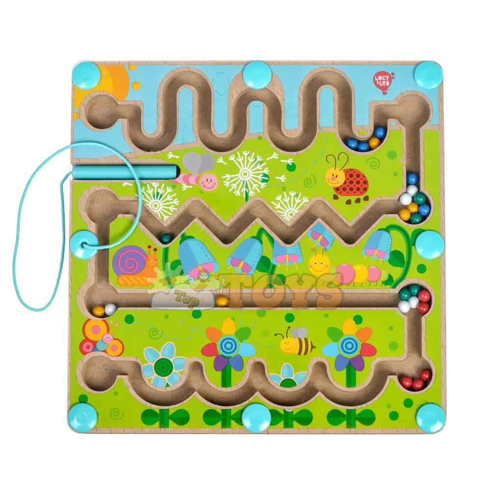 Jucărie din lemn labirint magnetic Flori Lucy&Leo LL185 stilou magnetic