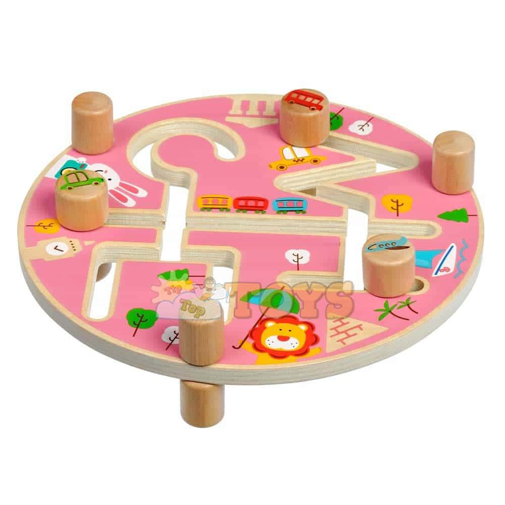 Jucărie din lemn labirint cu animale Călătoria prin lume Lucy&Leo LL200p