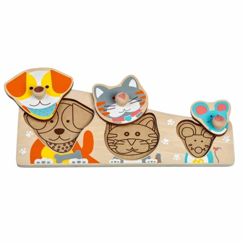 Puzzle lemn încastru Prieteni buni Lucy&Leo LL188 3 piese multicolor