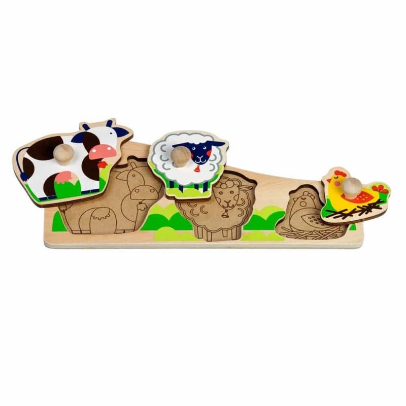 Puzzle lemn încastru Ferma cu animale Lucy&Leo LL189 3 piese color