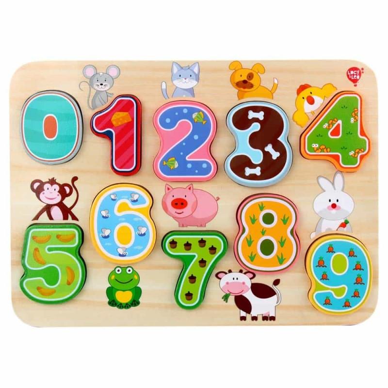 Puzzle lemn încastru Numere Lucy&Leo LL197 10 piese multicolor