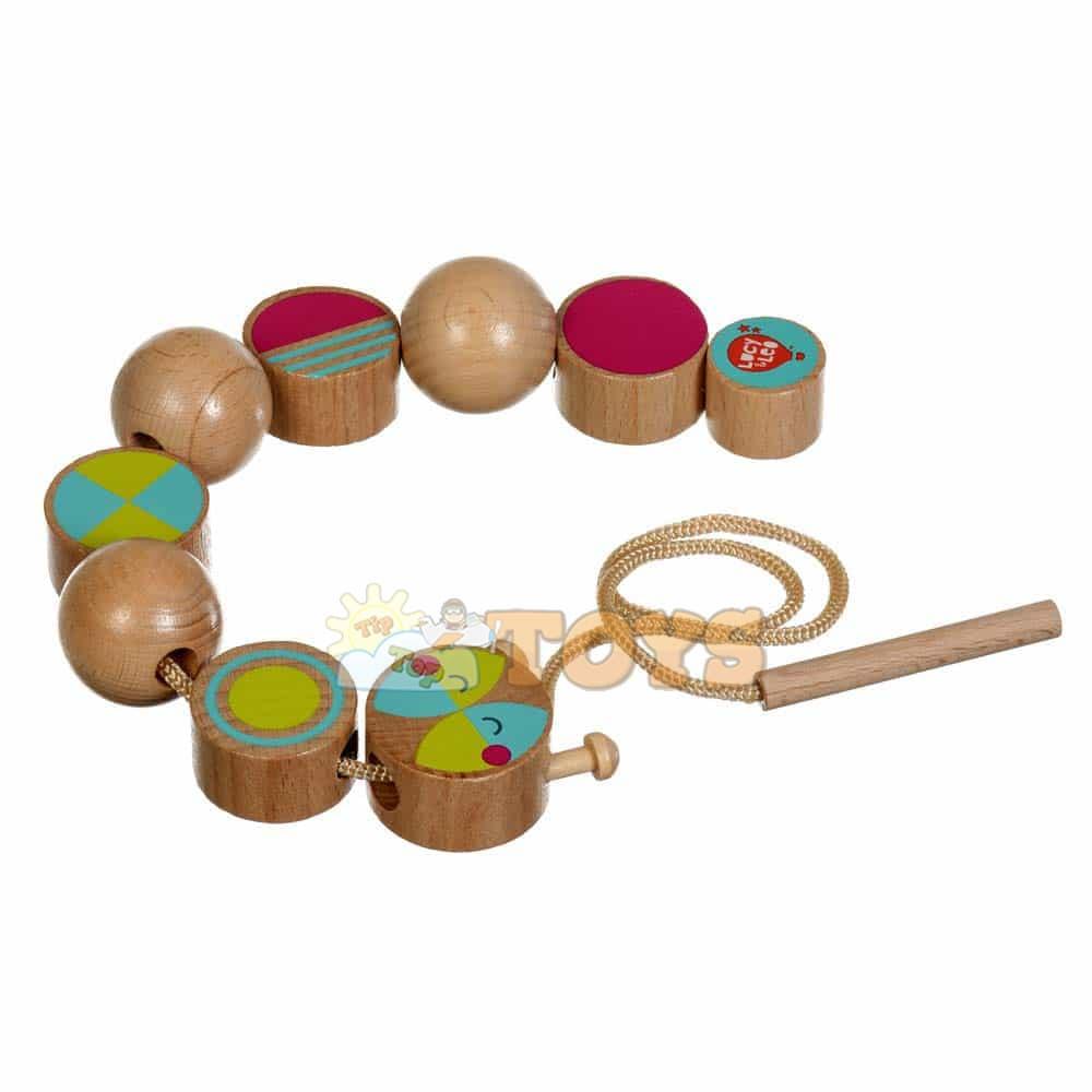 Jucărie din lemn mărgele de șnuruit Omida haioasă Lucy&Leo LL163