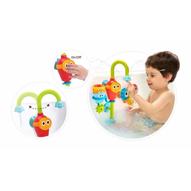 Jucărie de baie robinet pivotant cu accesorii de sortare rotative Yookidoo