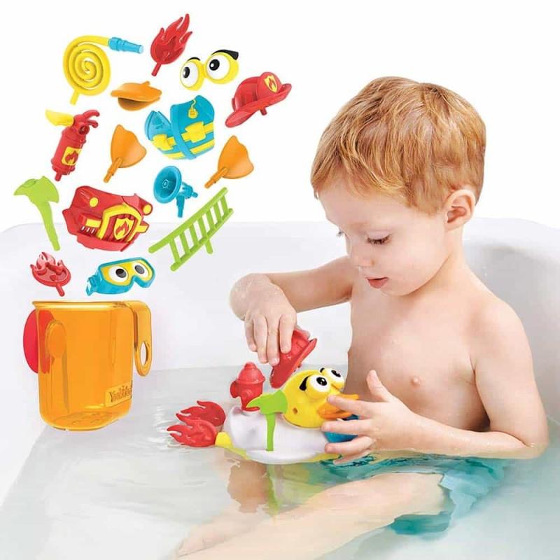 Jucărie de baie Rață pompier cu motor și 15 accesorii Yookidoo 40172